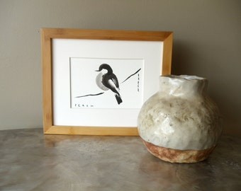 perch ink painting // matted original painting