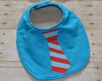 Turquoise and Red Stripe Tie Baby Bib