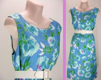 SALE - 25% off  Vintage 60s Tropical Floral screen-print Cotton Shift Mini Dress - Medium M