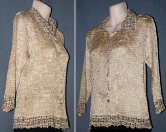 ALBERTO MAKALI gold sequins crinkle Blouse / Shirt / Top  M