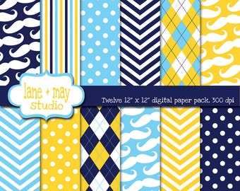 digital papers - little man / mustache theme patterns in navy, blue and yellow - INSTANT DOWNLOAD