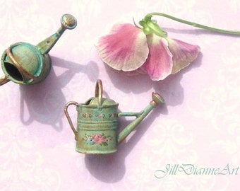 Green or Pink - Hand-Painted Shabby Cottage Chic - Sprinkling Watering Can - Jill Dianne - Dollhouse Miniaturess.