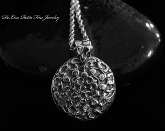 Recycled Silver Fine Silver Antique Floral Pendant Necklace