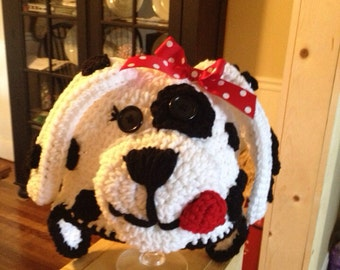 Black and white puppy hat