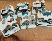 Porcelain Winter Village, Set of 6 from American Rustic, Vintage Holiday Miniature Collectibles