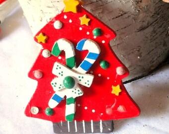 Vintage Handpainted Wood Christmas Tree Holiday Decorations