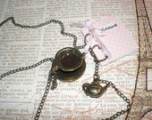 Coffee In Paris Necklace Small Handmade Notebook Pink, .Antique Bronze Miniature Coffee Cup Kettle Tea Pot Saucer Spoon