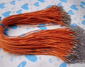 15pcs 17-19 inch 1.5mm adjustable Orange  waxed cotton necklace cord with lobster clasp