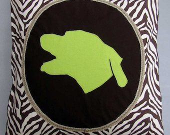 "YourPet Silhouette - Custom Cushion Cover - 18"" Sq. Throw Pillow Sham - Pet Cameo"