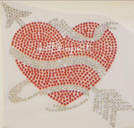 Valentines Day Heart with Arrow Hot Fix Iron On Rhinestone Transfer