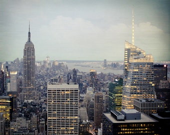 New York City Skyline Photo - NYC Photography - Vintage, Green - New York City Photo - Empire State Building Photo - New York Skyline
