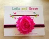 Hot Pink Shimmer & Glitter Shabby Chic Headband- Baby Headband, Newborn Headband, Toddler Headband- Valentine's Day