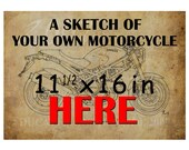 Personalized handmade sketch 11.5x16 with your own motorcycle, send a photo of your motorcycle, custom gift for men