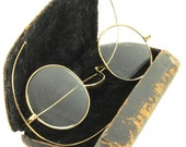 Antique Wire-Rimed Spectacles With Original Leather Wrapped Metal Case