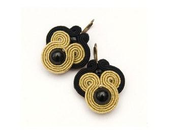Gold black dangle earrings, casual jewelry for elegant women.