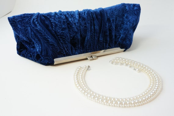Blue Velvet Clutch Handbag - Downton Abbey Inspired Purse - Bridal/Wedding/Evening/Prom - Vintage Style - Includes Chain, Made to Order