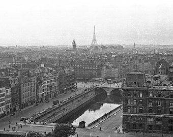 Vintage Photo: 1949 Paris Rooftops from Notre Dame, Eiffel Tower, Sepia