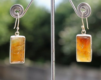 Earrings with stone of agate and silver