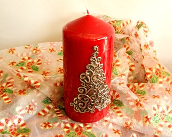 Pewter Embossed Decorative Candle Swirled Christmas Tree