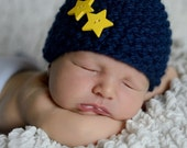 Baby Boy Knit Hat, Baby Boy Navy Blue Beanie, Baby Boy Beanie, Baby Boy Photo Prop, Newborn Photo Prop, Navy Blue Hat with Yellow  Stars