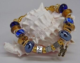 SIGMA GAMMA RHO Sorority Greek Large Hole Bead Euro Bracelet Royal Blue Gold with Poodle