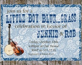 Little Boy Bluegrass Baby Shower Invitation - blue, aged wood, bandana