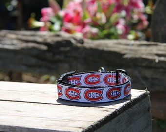 Dog Collar Montreal Canadians, FREE SHIPPING, montreal, montreal canadians, dog collar, adjustable dog collar