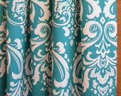 WINTER SALE ⋘ One Pair Window Treatments Curtains Drapery Panels 24W or 50W x 63, 84, 90, 96 or 108L Ozbourne Turquoise Damask shown