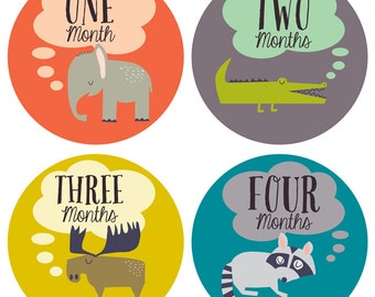 Animal Baby Monthly Stickers - Gender Neutral Monthly Stickers - Baby Monthly Stickers - Milestone Stickers - Bodysuit Stickers - Set of 12