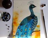 Peacock Original Painting Watercolor Gouache Ink Feathers Bird Animal Bird Decor Wall Art Fine Art Feathers Blue Grey Contemporary Art Bird