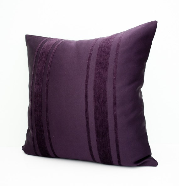 Modern Purple Throw Pillow : Items similar to Purple deorative pillow cover - stripes pillow - modern throw pillow - accent ...