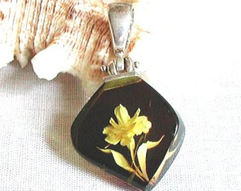 CHERRY AMBER INTAGLIO tiny floral miniature scene Pendant Amazing New Old Stock Beautifully HandCarved