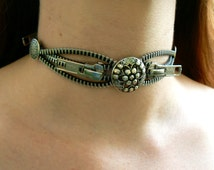 Silver Industrial Button Zipper Choker - Chain Choker - Industrial Jewelry