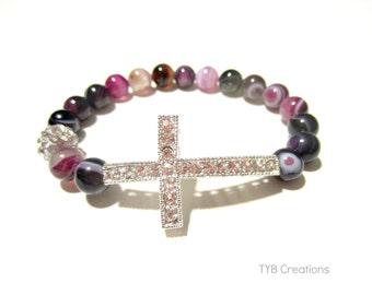 Purple Agate Cross Bracelet