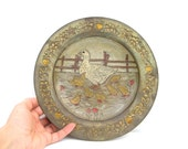Antique wall plate goose family farmhouse decor rustic handpainted round warm shape shapes