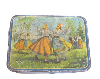 Estonia Estonian dancers 1950s Rustic tin Retro cookie container Tins collectible Collectibles tins Estonian singing and dancing festival