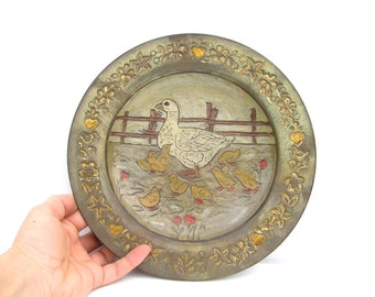 Antique wall plate Goose wall plate Rustic farmhouse decor Handpainted wall plate Antique wall decor Country style home decor