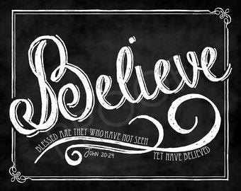Scripture Art- John 20:29 Chalkboard
