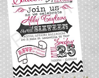 Chalkboard Style Birthday Party Invitation Printable Digital