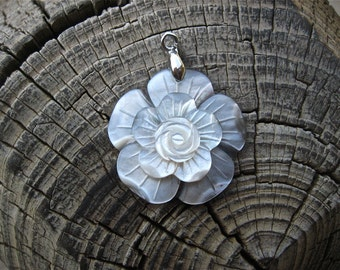 Vintage Carved Mother of Pearl Flower Charm or Pendant