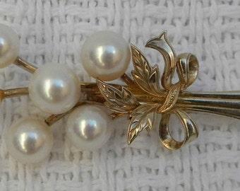 Vintage 50's MIKOMOTO Tokyo Pearl Gold Sterling Silver Floral Spray Brooch