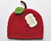 Red Apple Baby Hat (Baby Gifts Baby Beanie Newborn Hat Crochet Baby Hat Newborn Hats Baby Beanies)