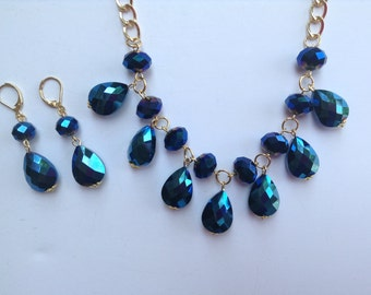 Blue Statement Necklace-Teardrop Statement Necklace-Chunky Necklace-Statement Necklace-One of a Kind-Hand Made-Designs by Stalinda