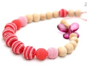 Nursing necklace/OrganicTeething necklace - crochet bead necklace for mom and baby in coral, pink and striped pink
