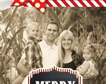 Custom Red and White Stripes Chalkboard Photo Christmas Cards