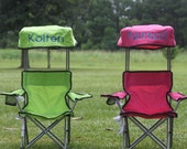 Kids Foldable Canopy Beach Camp Chair Monogram Personalized Pink Blue Green