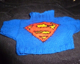 Hand Knitted Superman Sweater to fit Build a Bear
