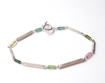 Unique Sterling Silver  Bracelet with Tpurmalines, Modern and One of Kind Handmade Jewelry