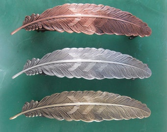 Feather Big Hair 100mm French Barrette- Feather- Hair Accessories- Hair Clip- Hair Barrette