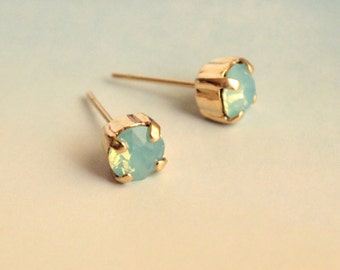 Small Swarovksi Crystal Stud Earrings in Pacific Opal-- Choose Gold or SIlver Finish